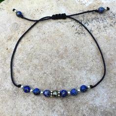 """Bracelet """"porte bonheur"""" lapis-lazuli, pyrite et argent 925"""