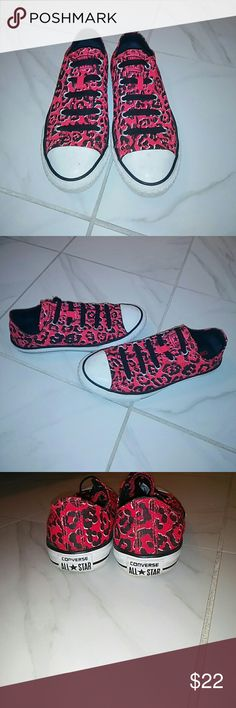 Red leopard Converse Good condition. Worn only several times. Size 3 kids but fit a 5.5 woman's Converse Shoes Athletic Shoes
