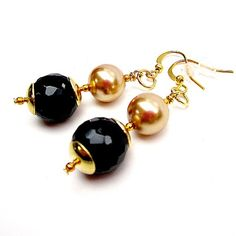 Black Earrings Gold Jewelry Mother of the Bride Wedding by cdjali, $12.00