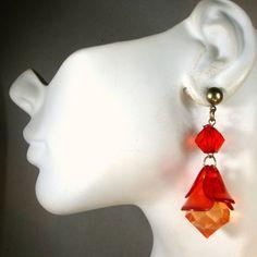 Red Orange Flower Dangle Earrings Lucite by VintageStarrBeads
