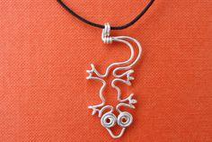 Wire Lizard Pendant Silver plated copper lizard by mohicanroads