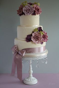 Romantic pearl & rose wedding cake by Cotton and Crumbs, via Flickr