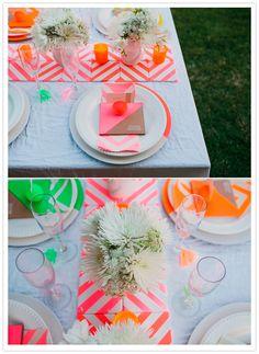 Neon chevron wedding or bridal shower inspiration Chevron Tile, Neon Nights, Party Entertainment, Floral Centerpieces, Bunt, Party Time, Our Wedding, Wedding Inspiration, Design Inspiration