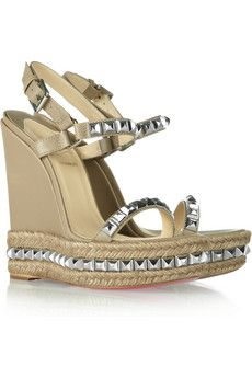 fb31544207c77 Christian Louboutin - Cataclou 140 studded leather wedge sandals