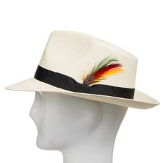 Fedora Gullport Classic Straw Panama Hat with Exotic Feather d1faa346230