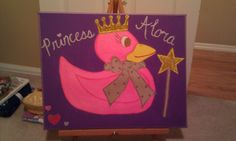 My Niece loves rubber duckies and princess' so I combined them both in a painting and added glitter for a very chic canvas painting!