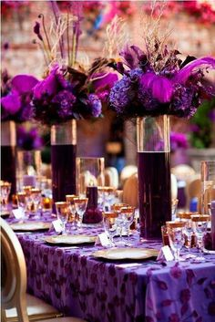 Here's a tip: Colored water with LED lights underneath create a centerpiece that will leave your guests speechless.