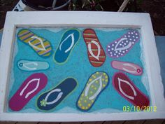 Funky Flip Flop Hand painted Wooden Window I just finished using Plaid Craft Acrylic paints