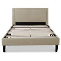 Platform Bed Upholstered Detailed Taupe - Sleep Revolution : Target