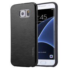 1f4e51f0cc0 [$1.64]For Galaxy S7 Edge / G935 Motomo Brushed Texture Metal + TPU  Protective Case(Black)