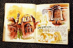 love the warm colors // San Lorenzo, Italy sketchbook from Sketchbuch // sketchbook