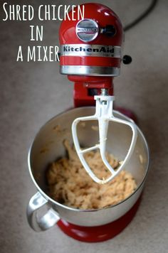 Easily shred chicken fast in a mixer.  this makes prepping chicken salad so easy.