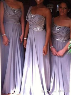 Wholesale Bridesmaid Dress - Buy 2014 On Sale Light Purple Bridesmaid Dresses With New Sequined Long Chiffon One Shoulder Dhyz 01, $95.0 | DHgate