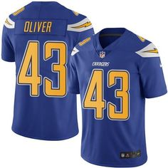 Nike Chargers #43 Branden Oliver Electric Blue Men's Stitched NFL Limited Rush Jersey