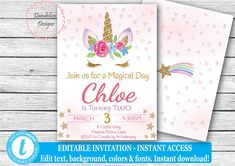 Unicorn invitation Floral Unicorn Unicorn birthday party