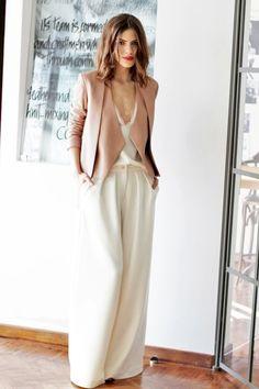 Wide leg pants in cream - Juliana Parisi - Blog