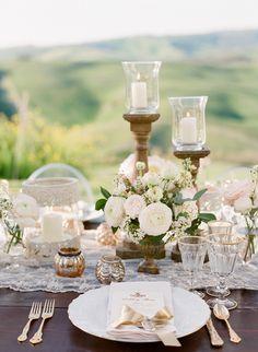 A romantic table setting for an outdoor reception   Jose Villa
