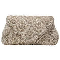 e8b65a4f9ba Buy John Lewis Daisy Scallop Beaded Clutch Handbag, Silver Online at  johnlewis.com Beaded