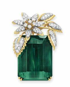 c28c83d2e167 Broche de Turmalina e diamantes