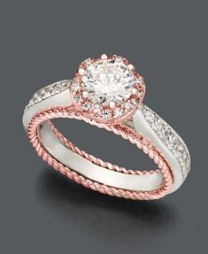 I love rose gold!! Blush Diamond Ring, 14k White and Rose Gold Certified Diamond Flower Ring (1-1/4 ct. t.w.)