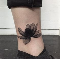 X-Ray Flower Tattoo on Ankle by Hongdam