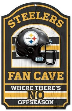 """Pittsburgh Steelers Wood Sign - 11""""x17"""" Fan Cave Design"""