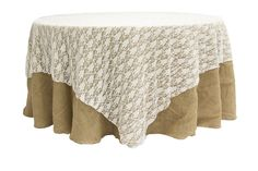 """90"""" square Lace Table Overlay Topper - White  $18.99"""