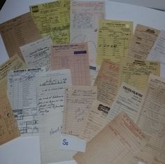 S Vintage store receipts 20 pc lot paper ephemera 1950s 60s altered art scrap supplies advertising