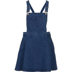 TOPSHOP MOTO Blue Denim Pini Dress ($40) ❤ liked on Polyvore featuring dresses, skirts, topshop, overalls, blue, denim dress, topshop dresses, blue dress and blue denim dress