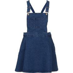 TOPSHOP MOTO Blue Denim Pini Dress ($40) ❤ liked on Polyvore featuring dresses, skirts, topshop, overalls, blue, denim dress, topshop dresses, blue dress and blue denim dress