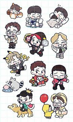 Chen <credits to owner> Exo Stickers, Kawaii Stickers, Exo Chen, Exo Chanyeol, Chibi, Exo Anime, Exo Fan Art, Kpop Fanart, Character Drawing