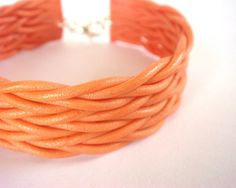 Polymer Clay Cuff  Coral Bracelet  Woven / Braided / by JustClayin