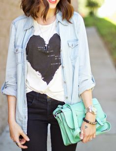 Black Jeans | Chambray Shirt over Graphic Tee | Mint Purse...Kacie's Kloset