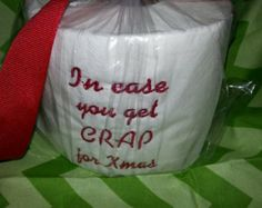 christmas paper towel gift | Embroidered Christmas toilet paper gag gift ...