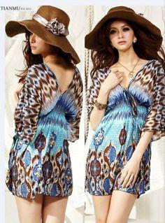 789800d902 National Double-V Collar Elastic Waist Patterns Quarter Sleeves Ice Cotton  Dress For Women. city sexylingerie · ☆Beach Dresses☆