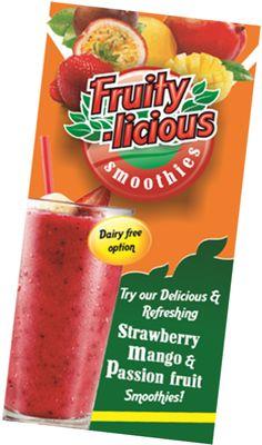 Fruity-licious Smoothies Strawberry Mango and Passion Fruit Passion Fruit Smoothie, Strawberry Smoothie, Dairy Free Options, Syrup, Cantaloupe, Smoothies, Mango, Tea, Food
