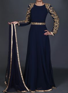 Royal Blue and Gold Anarkali Gown