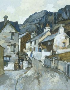 ۩۩ always loved Moira Huntly's art . Painting the Town ۩۩ city, town, village & house art - Moira Huntly - Blaenau Ffestiniog Urban Landscape, Abstract Landscape, Landscape Paintings, Building Painting, Building Art, Kunst Online, Guache, Wow Art, Art Uk
