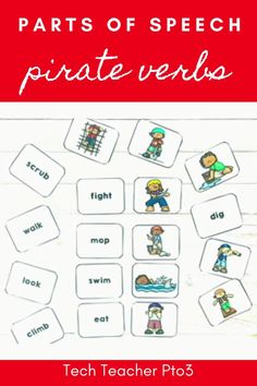 Help your students to learn the parts of speech with these pirate verb activities. This pack will help you guide your students through what a verb is and how they are used to help develop sentence structure and story plot. Included in this pack are teacher instructions, printables and a PowerPoint you can use with your whole class. #techteacherpto3 #partsofspeech #verbs #pirate #grammar #languagearts