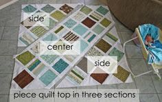 a tutorial for machine quilting in SECTIONS to cut down on bulk and have a better end product.  seems so obvious, but i never thought of it.