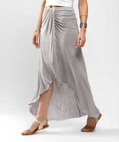 Gray Slubby Column Hi-Low Skirt | zulily