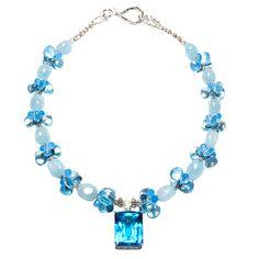Blue Topaz Pendant Necklace -Aquamarine and Sapphires