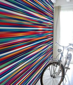 Striped optical vinyl #wallpaper ENERGETIC by GLAMORA | #design Danny Ivan @glamorasrl