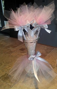 Tutu vase centerpieces with tulle flowers perfect by JayLeeDesign, $8.00  I think I could make these...