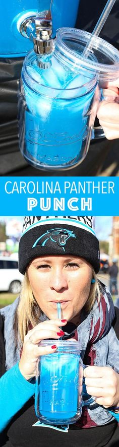 Carolina Panther Punch - the perfect cocktail for the big game!