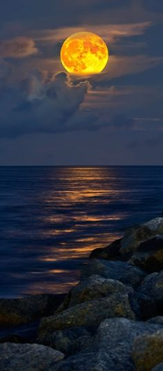 Full moon rising over Jupiter Inlet Beach in Florida