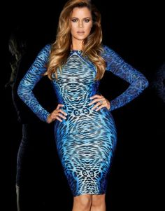 #Kardashian Kollection at #Lipsy #bodycon dress featuring all over print long sleeves and low back detail. Add a Kardashian biker jacket to complete your look!  View more like these: http://www.look-fabulous.com/store/category/lipsy-dresses/