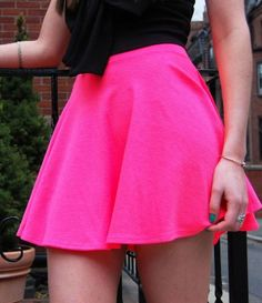 Tianna Neon Box Pleat Skater Skirt | Neon, Shops and Hot pink