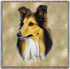 "Artwork by world renowned animal artist, Robert May. 54"" width x 54"" length Jacquard woven 100% cotton art tapestry. Not a print. Fringed. Made in the USA. Special Delivery/Handling: If not in stock,"