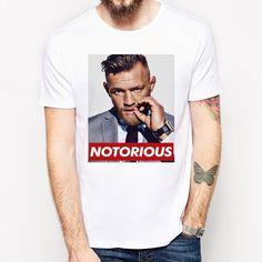 f383a47e Funny Men Round Neck T Shirts Notorious Man Fashion Cotton Tops White Size  S-3XL. Notorious Conor McgregorShirt ...